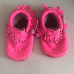 Freshly picked neon pink moccasins mini soles